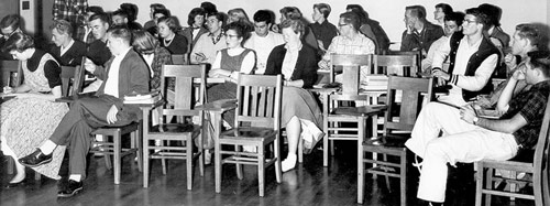 Historical photo of SRJC students in a classroom