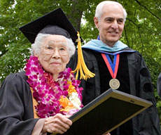 President Agrella with elderly SRJC graduate