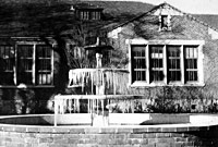 old picture of SRJC Fountain and Building