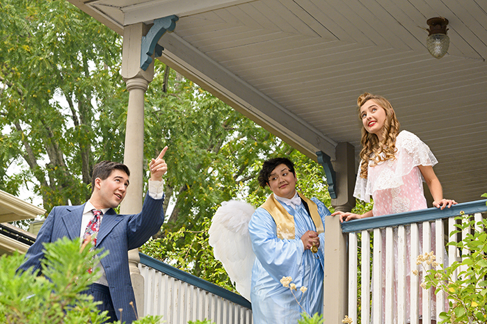 Noah Sternhill as George, Maryanne Boaz as Mary, and Alexx Valdez as Clarence